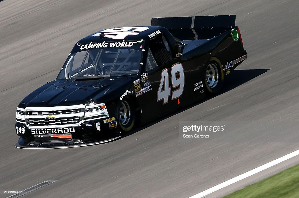 Timmy Hill, driver of the #49 Chevrolet, drives during qualifying for the NASCAR Camping World Truck Series Toyota Tundra 250 at Kansas Speedway on May 6, 2016 in Kansas City, Kansas.