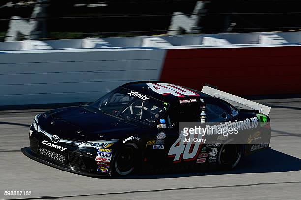 Timmy Hill driver of the CrashClaimsRus/OCR Gaz Bar Toyota practices for the NASCAR XFINITY Series VFW Sport Clips Help A Hero 200 at Darlington...