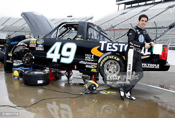 Timmy Hill driver of the JEFA Tech Chevrolet stands in the garage area during practice for the NASCAR Camping World Truck Series Alpha Energy...