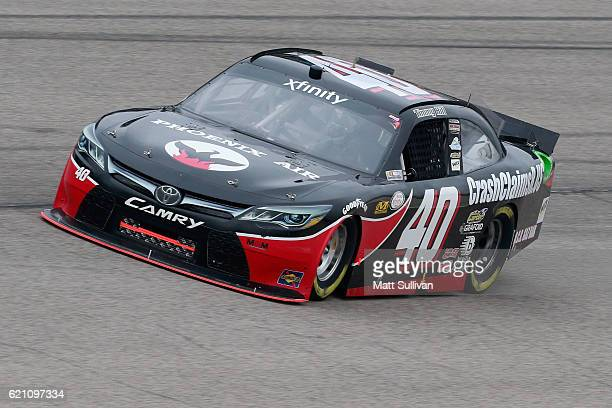 Timmy Hill driver of the OCR Gaz Bar/TLC Vacations Toyota practices for the NASCAR XFINITY Series O'Reilly Auto Parts Challenge at Texas Motor...