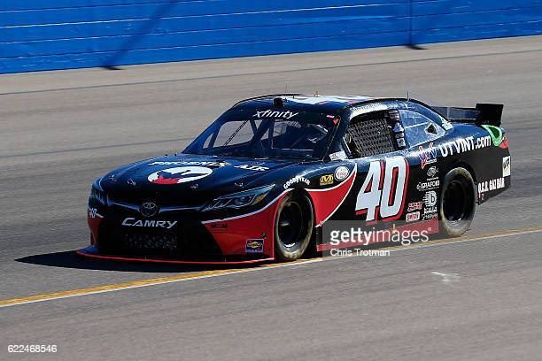 Timmy Hill driver of the Phoenix Air/UTVINTcom Toyota practices for the NASCAR XFINITY Series Ticket Galaxy 200 at Phoenix International Raceway on...