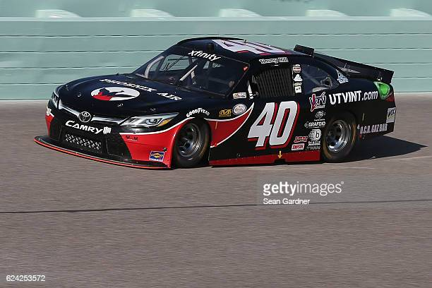 Timmy Hill driver of the Phoenix Ait/UTVINTcom/OCR Gaz Bar Toyota practices for the NASCAR XFINITY Series Ford EcoBoost 300 at HomesteadMiami...
