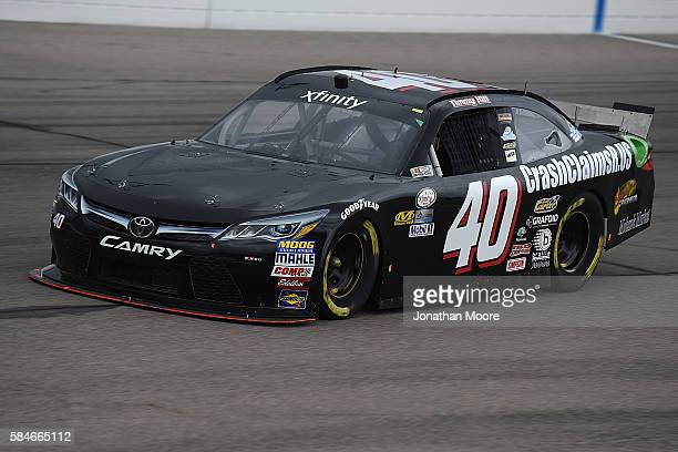 Timmy Hill driver of the Toyota on track during practice for the for the NASCAR XFINITY Series US Cellular 250 at Iowa Speedway on July 29 2016 in...
