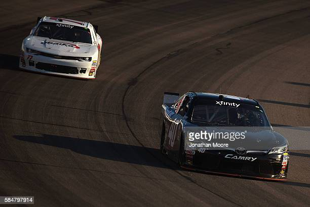 Timmy Hill driver of the Toyota races on track during the NASCAR XFINITY Series US Cellular 250 at Iowa Speedway on July 30 2016 in Newton Iowa