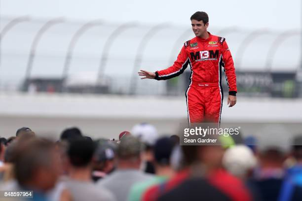 Timmy Hill driver of the US Chrome Chevrolet is introduced prior to the Monster Energy NASCAR Cup Series Tales of the Turtles 400 at Chicagoland...