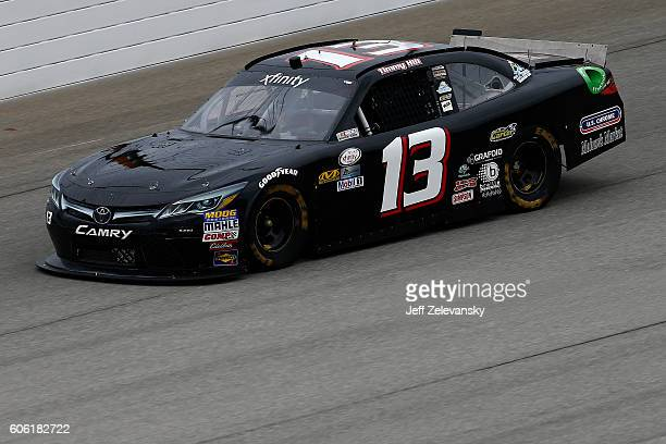 Timmy Hill driver of the US Chrome / CrashClaimsRus Toyota practices for the NASCAR XFINITY Series Drive for Safety 300 at Chicagoland Speedway on...