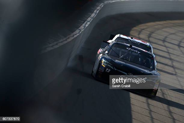 Timmy Hill driver of the US Chrome / CrashClaimsRus Toyota races during the NASCAR XFINITY Series Drive for Safety 300 at Chicagoland Speedway on...