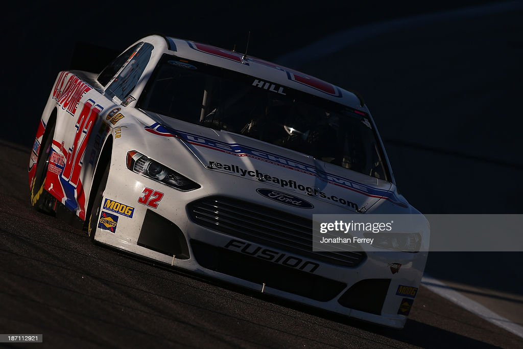 Timmy Hill, driver of the #32 U.S. Chrome Ford, during practice for the NASCAR Sprint Cup Series AAA Texas 500 at Texas Motor Speedway on November 2, 2013 in Fort Worth, Texas.
