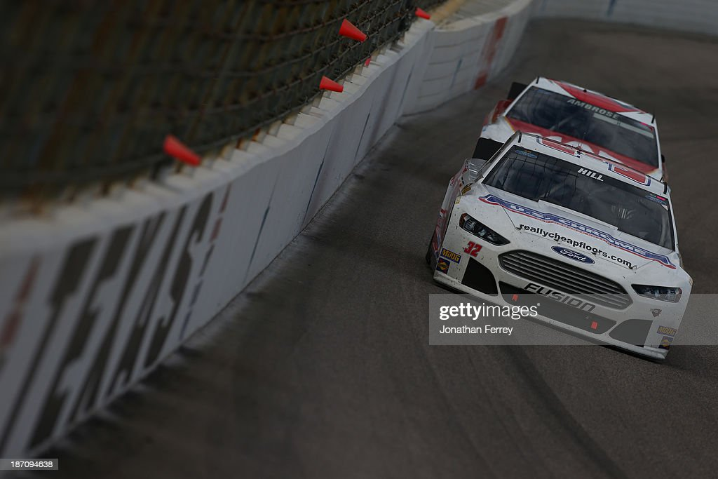 Timmy Hill, driver of the #32 U.S. Chrome Ford, during the NASCAR Sprint Cup Series AAA Texas 500 at Texas Motor Speedway on November 3, 2013 in Fort Worth, Texas.