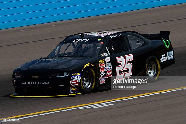 Timmy Hill driver of the Wrap Nation Chevrolet drives during practice for the NASCAR XFINITY Series Axalta Faster Tougher Brighter 200 at Phoenix...