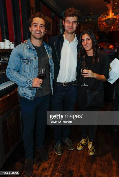 Timmy Ray Steph Davies and Nellie Davies attend a private view of photographer John Stoddart's exhibition at L'Escargot on September 26 2017 in...