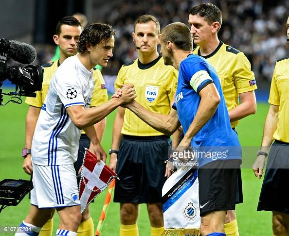 Timmy Simons midfielder of Club Brugge and Thomas Delaney of FCK pictured during UEFA Champions League Group G stage match between Club Brugge and FC...