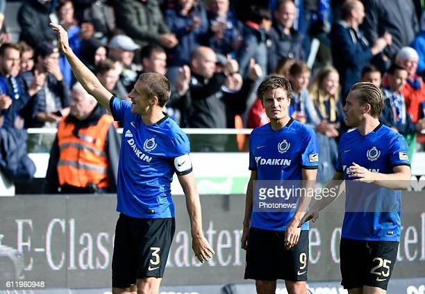 Timmy Simons midfielder of Club Brugge celebrates the win pictured during Jupiler Pro League match between Club Brugge KV and KAA Gent on OCTOBER2...