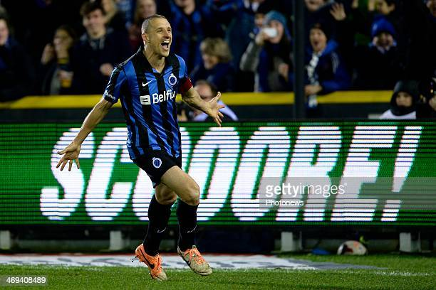 Timmy Simons of Club Brugge celebrates scoring a penalty during the Jupiler Pro League match between Club Brugge and KV Kortrijk on February 14 2014...
