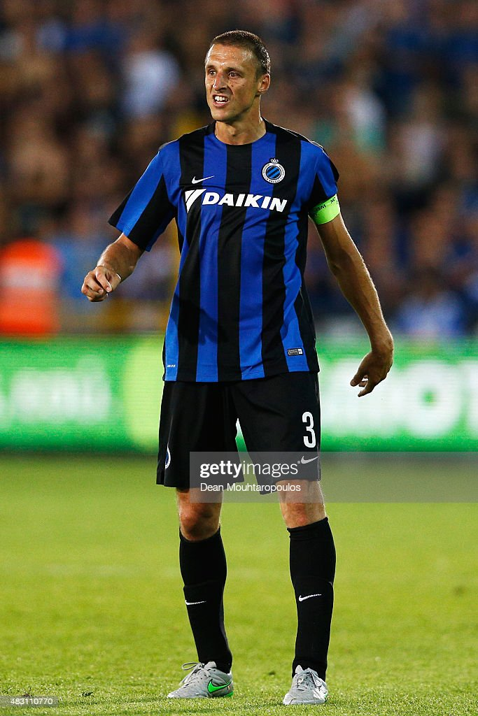 <a gi-track='captionPersonalityLinkClicked' href=/galleries/search?phrase=Timmy+Simons&family=editorial&specificpeople=794114 ng-click='$event.stopPropagation()'>Timmy Simons</a> of Club Brugge in action during the third qualifying round 2nd Leg UEFA Champions League match between Club Brugge and Panathinaikos held at Jan Breydel Stadium on August 5, 2015 in Brugge, Belgium.