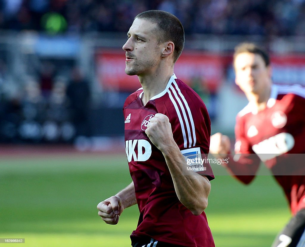 Timmy Simons of Nuernberg celebrates after scoring their first goal during the Bundesliga Match between 1. FC Nuernberg and SC Freibug at Grundig Stadion on March 2, 2013 in Nuremberg, Germany.