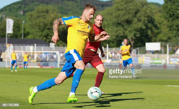 Timmy Thiele of Jena on the ball during the Third League Playoff Leg Two between FC Carl Zeiss Jena and Viktoria Koeln on June 01 2017 at...
