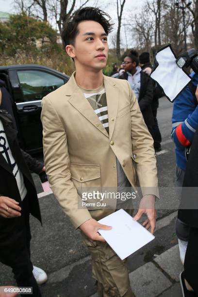 Timmy Xu arrives at the Moncler Gamme Rouge show as part of the Paris Fashion Week Womenswear Fall/Winter 2017/2018 on March 7 2017 in Paris France