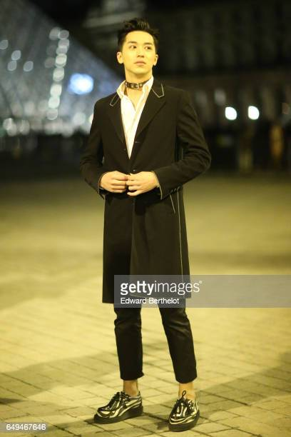 Timmy Xu is seen outside the Louis Vuitton show during Paris Fashion Week Womenswear Fall/Winter 2017/2018 on March 7 2017 in Paris France