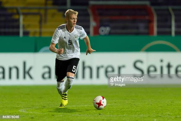 Timo Baumgartl of Germany controls the ball during the U21 UEFA 2018 EM Qualifying match between Germany and Kosovo at the Stadion Bremer Bruecken in...