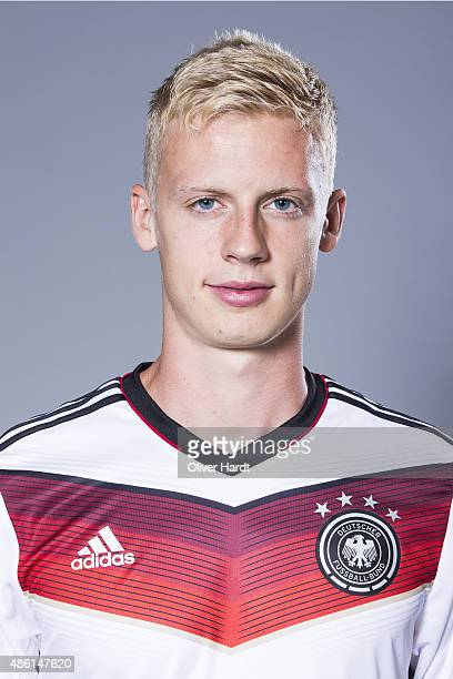 Timo Baumgartl of Germany poses during the team presentation of Germany U21on August 31 2015 in Hamburg Germany