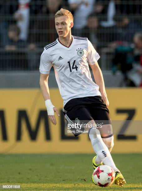 Timo Baumgartl of Germany runs with the ball during the International Friendly match between Germany U21 and Portugal U21 at GaziStadion on March 28...