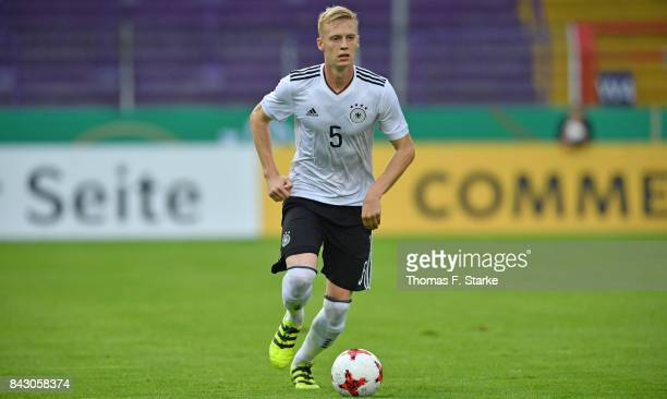 Timo Baumgartl of Germany runs with the ball during the UEFA Euro 2019 Qualifier match between Germany U21 and Kosovo U21 at Osnatel Arena on...
