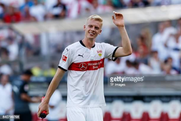 Timo Baumgartl of Stuttgart celebrate their win during the Bundesliga match between VfB Stuttgart and 1FSV Mainz 05 at MercedesBenz Arena on August...
