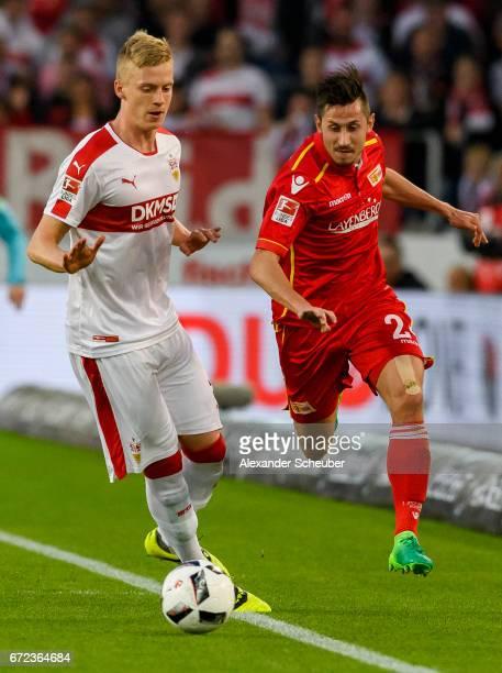 Timo Baumgartl of Stuttgart challenges Steven Skrzybski of Berlin during the Second Bundesliga match between VfB Stuttgart and 1 FC Union Berlin at...