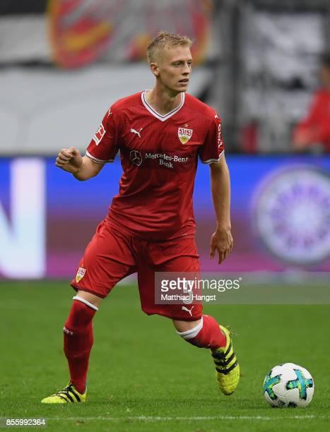 Timo Baumgartl of Stuttgart controls the ball during the Bundesliga match between Eintracht Frankfurt and VfB Stuttgart at CommerzbankArena on...