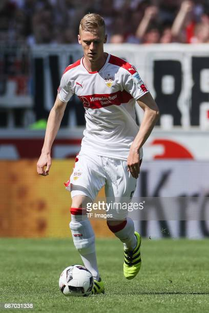 Timo Baumgartl of Stuttgart controls the ball during the Second Bundesliga match between VfB Stuttgart and Karlsruher SC at MercedesBenz Arena on...