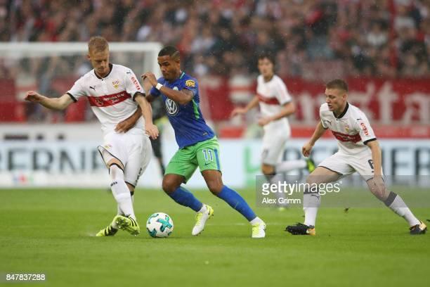 Timo Baumgartl of Stuttgart fights for the ball with Daniel Didavi of Wolfsburg during the Bundesliga match between VfB Stuttgart and VfL Wolfsburg...