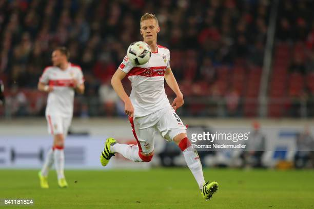 Timo Baumgartl of Stuttgart in action with the ball during the Second Bundesliga match between VfB Stuttgart and Fortuna Duesseldorf at MercedesBenz...
