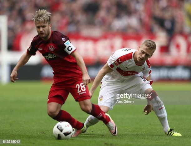 Timo Baumgartl of Stuttgart looks to challenge Daniel Halfar of Kaiserslautern during the Second Bundesliga match between VfB Stuttgart and 1 FC...