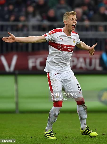 Timo Baumgartl of Stuttgart reacts during the Second Bundesliga match between FC St Pauli and VfB Stuttgart at Millerntor Stadium on January 29 2017...