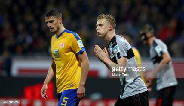 Timo Baumgartl of Stuttgart reacts during the Second Bundesliga match between Eintracht Braunschweig and VfB Stuttgart at Eintracht Stadion on March...