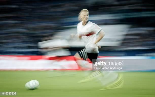 Timo Baumgartl of Stuttgart runs with the ball during the Bundesliga match between FC Schalke 04 and VfB Stuttgart at VeltinsArena on September 10...
