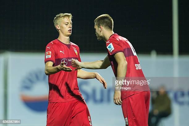 Timo Baumgartl of VfB Stuttgart shakes hands with Toni Sunjic of VfB Stuttgart during a friendly match between VfB Stuttgart and VfL Bochum at...