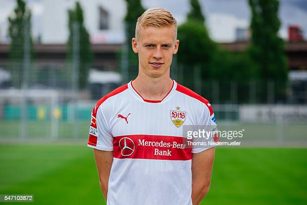 Timo Baumgartl poses during the VfB Stuttgart team presentation on July 13 2016 in Stuttgart Germany