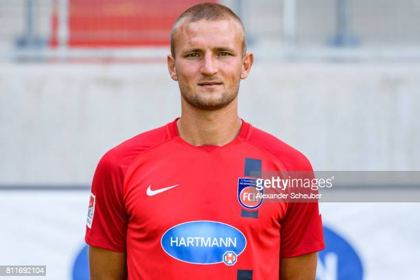 Timo Beermann of 1 FC Heidenheim poses during the team presentation at Voith Arena on July 8 2017 in Heidenheim Germany
