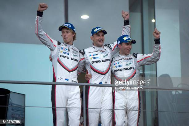 Timo Bernhard Earl Bamber and Brendon Hartley of Team Porsche LMP celebrate their first place after the 6 Hours of Mexico Practice as part of FIA...