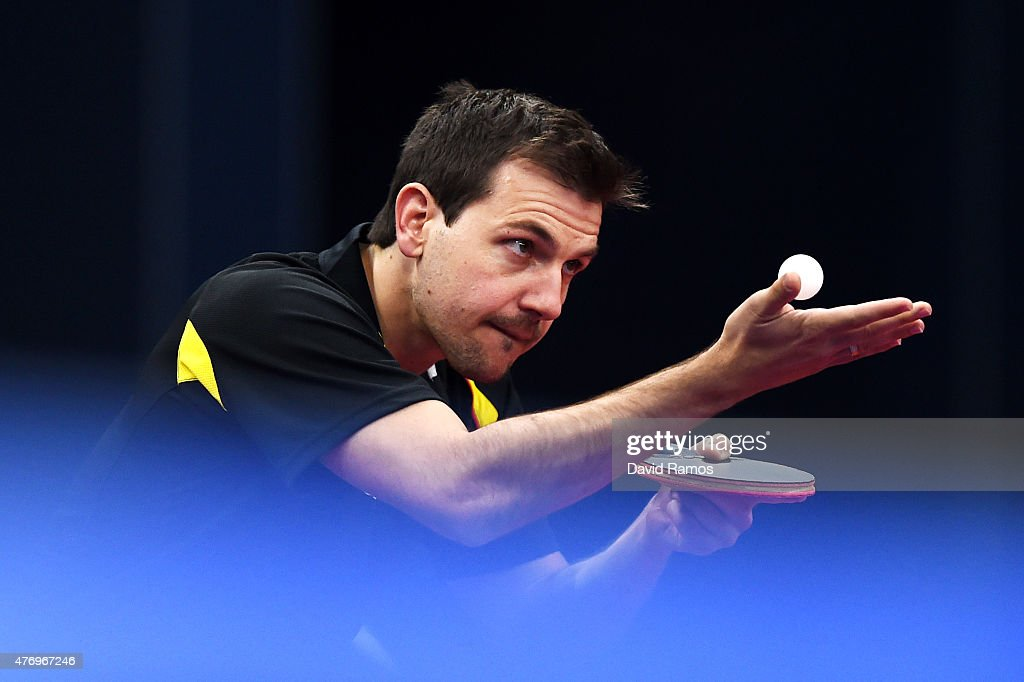 Timo Boll of Germany competes in the Table Tennis - Men's Team's first round match against Marc Duran of Spain during day one of the Baku 2015 European Games at Baku Sports Hall on June 13, 2015 in Baku, Azerbaijan.