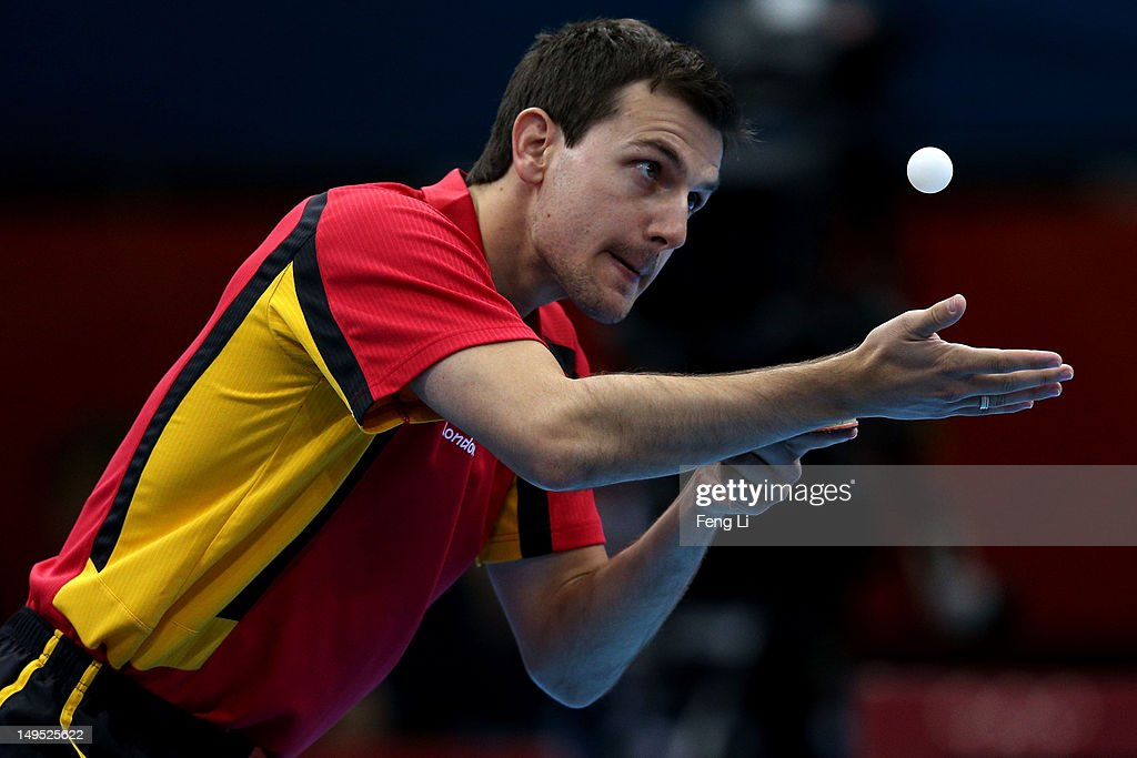 Timo Boll of Germany serves the ball during his Men's Singles Table Tennis third round match against Noshad Alamiyan of Islamic Republic of Iran on Day 3 of the London 2012 Olympic Games at ExCeL on July 30, 2012 in London, England.