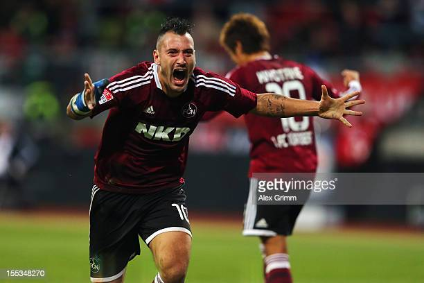 Timo Gebhart of Nuernberg celebrates his team's first goal during the Bundesliga match between 1 FC Nuernberg and VfL Wolfsburg at Easy Credit...