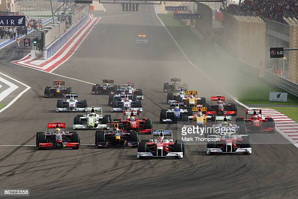 Timo Glock of Germany and Toyota takes the lead at the start of the Bahrain Formula One Grand Prix at the Bahrain International Circuit on April 26...