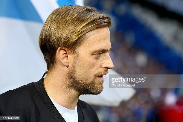 Timo Hildebrand former player of Schalke looks on prior to the Bundesliga match between FC Schalke 04 and VfB Stuttgart at Veltins Arena on May 2...