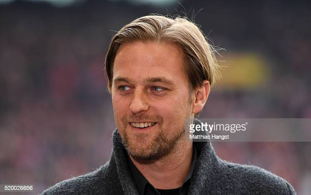 Timo Hildebrand gives an interview prior to the Bundesliga match between VfB Stuttgart and FC Bayern Muenchen at MercedesBenz Arena on April 9 2016...