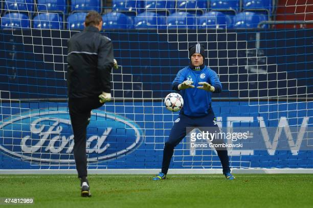 Timo Hildebrand of FC Schalke 04 practices during a training session ahead of the Champions League match between FC Schalke 04 and Real Madrid at...