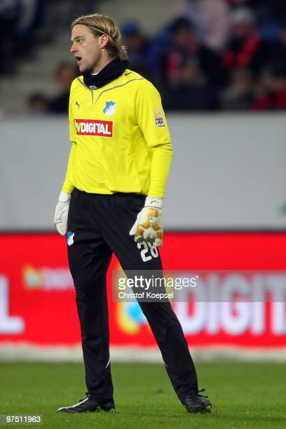 Timo Hildebrand of Hoffenheim looks dejected after losing 01 the Bundesliga match between 1899 Hoffenheim and FSV Mainz at RheinNeckar Arena on March...