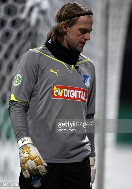 Timo Hildebrand of Hoffenheim looks on after the DFB Cup quarter final match between SV Werder Bremen and 1899 Hoffenheim at Weser Stadium on...